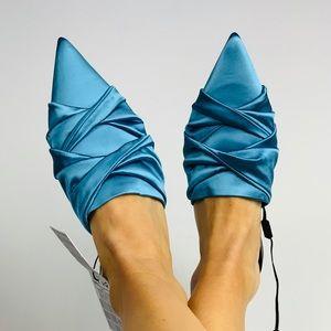 NEW Zara Blue Satin Pointed Toe Mule Slides 38